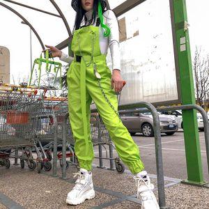 NCLAGEN élégant jumpsuit des chaînes de poches Buckles femmes bretelles pantalon ample Streetwear Capris Femme Pantalons simple