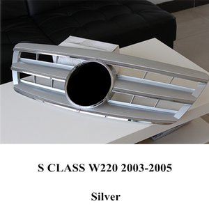1 piece Top quality ABS Front Racing Grill Grilles For S CLASS W220 Black   Silver Kidney Mesh Grille