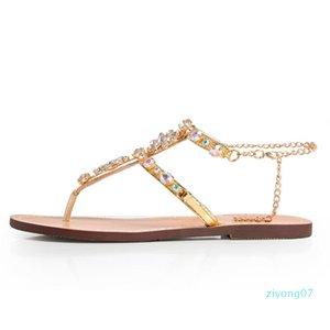 Hot Chains Vente-femme Thong Gladiator sandales plates en cristal Taille Plus 46 Chaussure tenis Feminino Z07