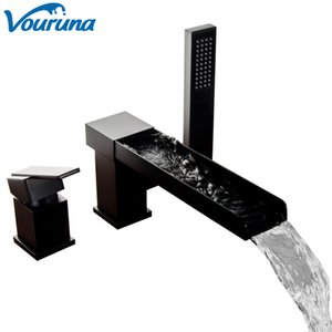 VOURUNA Contemporary 3-Hole Bathroom Waterfall Bathtub Faucet Roman Tub Filler with Handheld Shower