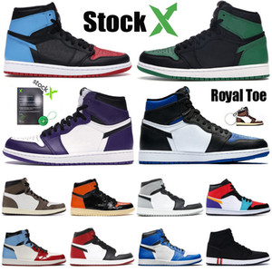 Jordan 1 retro Zapatos de baloncesto prohibido UNC juego de tamaño real de la zapatilla de deporte del atletismo Top 3 para hombre del deporte de alta entrenador 1 OG 1s barato