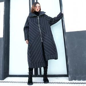 Johnature mujeres rayas parkas moda negro abrigos con capucha irregulares 2018 invierno más algodón cálido mujeres paños streetwear parkas