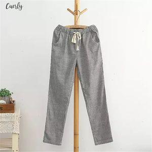 Cotton Bigsweety Linen Women Casual Drawstring Pants Fashion Loose Long Pants Elastic Waist Straight Striped Trousers Pantalon