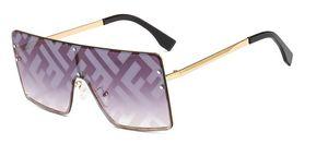 2019 Moda Kadın Erkek Boy Yapışık Kare Güneş Gözlüğü Mektup Baskı Ayna Kaplama Lens Gözlük Gözlüğü UV400 Gözlük