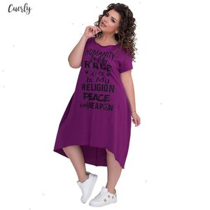 Printed Letters Short Sleeve Mid Calf Dress Vestidos Big Size Casual Irregular Loose Dress Women Autumn Dresses Designer Clothes