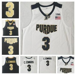 Carsen Edwards Jersey di pallacanestro di Purdue Boilermaker # 3 C.Edwards eblack bianca cucita NCAA College Basketball Maglie Retro caldo