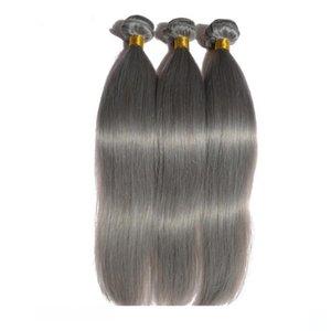 H Fashion 12 -26 &Quot ;Silver Grey Brizalian Hair Extensions 3 Bundles Silky Straight Brazilian Human Hair Weft Gray Sew In Hair Exten