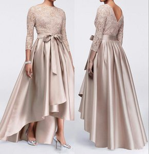 Champagne-Spitze plus Größe Mutter der Braut Kleider 2020 langen Ärmeln Satin Hoch Tief Schärpen Mutter des Bräutigams Kleider BM0830