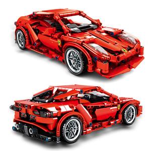 Blocos de construção DIY corrida blocos de construção modelo de carro série ajustada técnica clássica com caixa original