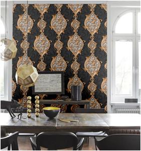 Modern Luxury Textura pesada del papel pintado del damasco del Victorian del pvc Negro 3d Salón dormitorio la decoración del hogar del arte