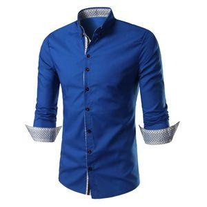 Slim Fit doppia button-down solida del collare camicie da sera abiti da uomo a maniche lunghe Mans Camicie Casual camicia maschile sociale