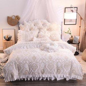 29 Beyaz Pembe Mor Yeşil Kış Kalın Polar Kumaş Prenses Yatak Yastık kılıfı etek Dantel Jakarlı Nevresim Bed set