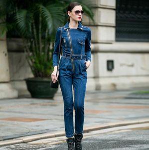 Denim Jumpsuit women 2020 high Waist front zipper Denim Overalls Playsuits Female Long Sleeve turn-down collar Jeans Rompers w754