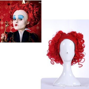 L Alice In Wonderland Red Queen Wig Women Girl &#039 ;S Short Curly Red Color Movie Cosplay Wig Costume Party Wig