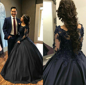 Navy Blue Ball Gown Quinceanera Dresses Off Shoulder Long Sleeves Appliques Satin Floor Length Prom Dresses Modest Sweet Sixteen Dress