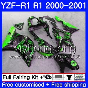 Corpo Per YAMAHA YZF 1000 YZF R 1 YZF1000 YZFR1 00 01 Telaio 236HM.36 YZFR1 00 01 Carrozzeria YZF1000 YZF R1 verde caldo caldo 2000 2001 carenatura