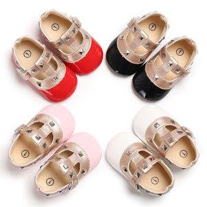 Zapatos de cuero LANSHITINA hebilla de la PU 0-18Months princesa, zapatos, zapatos antideslizante primeros caminante del bebé recién nacido suaves para la niña de B188 CY200512