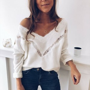 Sexy V-neck Jumper Pullover Sweaters Women New Xmas Christmas Sweaters Tops For Women Pullovers Sweater Fall Warm Boho Knitwear