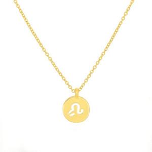 Leo 12 Constelación Signos redondos Colgante Cadena Collar Lucky Amuleto Círculo Geométrico Zodiaco Horóscopo Astrología Disc Pendiente Colgante