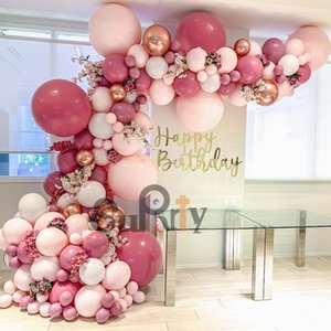 DIY Retro Hot Pink Balloons Garland Arch Kit 4D Rose Gold Baby Pink White Balloon for Birthday Anniversary Weddings Party Decor Supplies