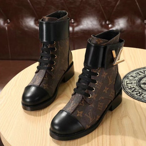 Wonderland Flach Ranger Stiefel Marken Frauen Patent Canvas Boots Twist Schnalle Designer Lady Plain Leder GummiOutsole Stiefeletten