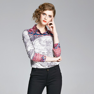 Quality Elegant Shirts Long Sleeve Printed Women's Runway Tops Spring Autumn Winter Plus Size Casual Office Ladies Designer Button Blouses