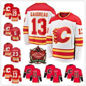 Calgary Flames 19 Matthew Ткачук 13 Джонни Гудро 23 Шон Монахан Яромир Ягр 5 Марк Джордано наследия Классический Hockey трикотажных изделий