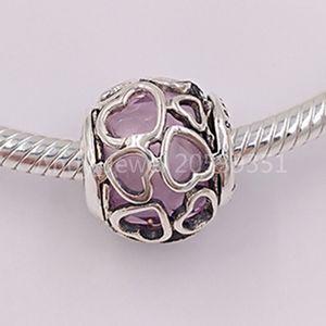 Authentique Argent 925 Perles rose Encased In Love Charms Charm Collier bijoux européens Fits Style Pandora Bracelets 792036PCZ