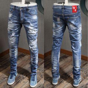 Новые ковбойские брюки человек краска проблемные бакенбарды промытые Slim Fit Красный патч молния Fly джинсы для мужчин