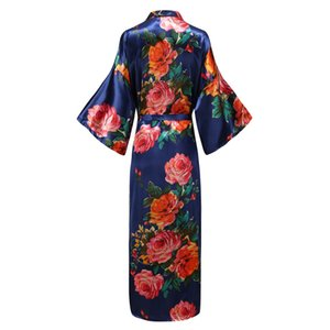 Elegant Ankle-length Full Women Kimono Robe Gown Comfortable Soft Satin Sleepwear Homewear Print Flower Nightgown Plus Size 5XL
