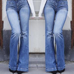 Yeni Moda Kadınlar Bayanlar Skinny Flare Denim Jeans Bell Alt Stretch Yüksek Bel Fermuar Pantolon Pantolon Artı boyutu L-3XL