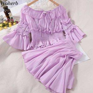 Woherb 2 pezzi Outfits per le donne Slash collo spalle dolce camicette + alta mini vestito dalla vita solido insieme a due pezzi Streetwear