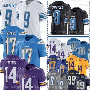 9 Matthew Stafford Jersey DetroitLeón 88 T. J. Hockenson Philip Rivers 99 Joey Bosa Stefon Diggs fútbol jerseys