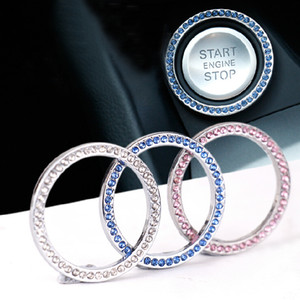 2XCar Crystal Ignition Key Ring Auto Push to Start Decorative Rhinestone Lock Keyhole Rings