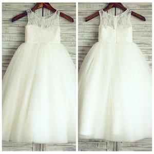 2019 레이스 탑 라인 A 라인 Tulle Long Flower Girls Dress 바닥 길이 Modest Customized Kids 성찬식 가운 Cheap Princess Birthday Gowns