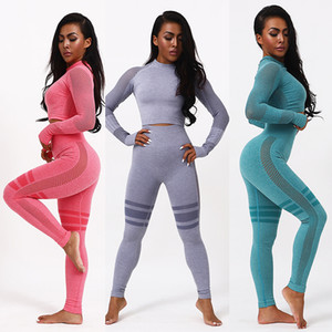 Yoga Sets Women Gym Clothes 2 Piece Female Seamless Workout Sets Fitness Clothing Sports Running Leggings Wear Set Long Sleeve