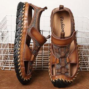 mens sandals 2020 summer big size 48 men 39 s shoes beach handmade sandalias de hombre genuine leather hollow breathable outdoor