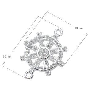 10piece / prata banhado conector do leme fit jóias fazendo micro pave acessórios