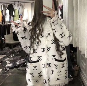 Women splice sexy coat girl fashion brand Printed letter Pearl fringed knitted coat collar zip jacket Wool Ladies OL Boutique coat