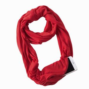 Solide Pocket Scarf 21 Couleurs Femmes chaud Infinity enveloppe d'écharpe avec col cou Automne Zipper hiver Echarpes OOA7353