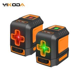 Yikoda Lazer Seviyesi Çapraz Hattı Lazer Kırmızı / Yeşil Işın Taşınabilir 2 Satır Mini Seviye Ölçer Ölçüm Araçları Araçları