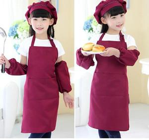 الساخن بيع 10 الألوان التوصيل المجاني للأطفال جيب المريلة حرفة الطبخ الخبز فن الرسم للأطفال جيب المطبخ لتناول الطعام مريلة JD001