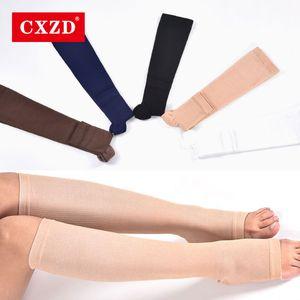 CXZD أزياء الرجال والنساء الجوارب الدافئة الركبة الصلبة العليا المفتوحة تو للجنسين ضغط جوارب الساق