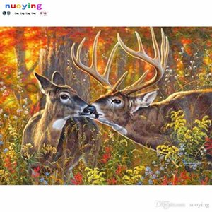New Full Round Diamond Painting Autumn Deer Cross Stitch Diamond Embroidery 5d Diy Diamond Mosaic Picture Rhinestones Sets Pa301