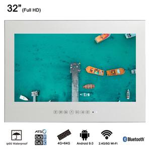 """32"""" pouces grand écran de télévision Smart Android 9.0 Cabines de douche Miroir mural étanche publicité Sauna TV"""