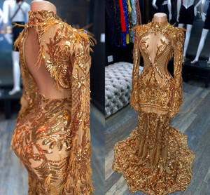 Arabic Aso Ebi Gold Evening Pageant Dresses 2021 Real Image Luxury Feather Long Sleeve High Neck Mermaid Prom Reception Gown