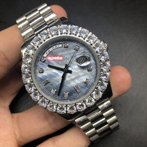 남자 부티크 패션 시계 Prong 세트 다이아몬드 시계 실버 스테인레스 스틸 케이스 시계 자동 기계 스포츠 스포츠 손목 시계