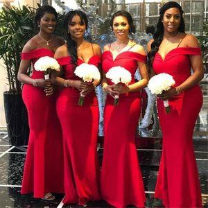 Custom Made Africano Red Mermaid Bridesmaid Dresses New Off O Ombro Até O Chão Longo Formal Vestidos de Casamento Vestido de Festa