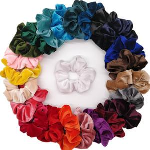 6pcs / lot kadın kadife saç Scrunchies Saç Tie Aksesuarları at kuyruğu Tutucu leopar şerit şifon çiçek