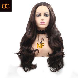 유럽과 미국의 전면 레이스 후드 여성 긴 직선 머리 색깔 개인 맞춤 무료 배송 가발 OC909 NF 화학 섬유